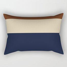 Color Block Triple - Minimalist Solid Stripe Pattern in Brown, Cream Beige, and Dark Navy Blue Rectangular Pillow