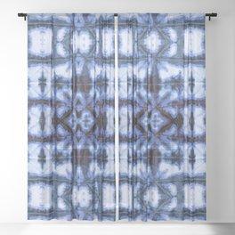 Blue Oxford Shibori Sheer Curtain