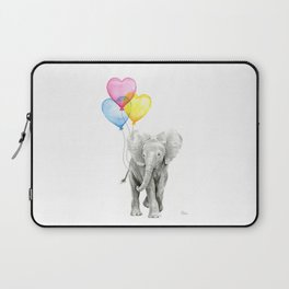 Elephant Watercolor with Balloons Rainbow Hearts Baby Animal Nursery Prints Laptop Sleeve