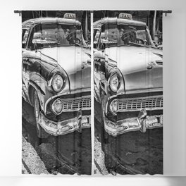 Havana, Cuba '57 Taxi Street Scene Black and White Photographic Art Print Blackout Curtain