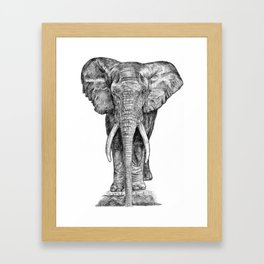 Elephant at the water hole. Framed Art Print