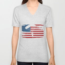 USA Flag Skydiving Skydive Extreme Sports Parachuting Gifts Unisex V-Neck