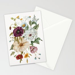 Colorful Wildflower Bouquet on White Stationery Cards