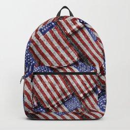 Usa Flag Grunge Pattern Backpack