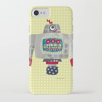50s iPhone & iPod Cases featuring pete 50s retro robot by blossyfloss