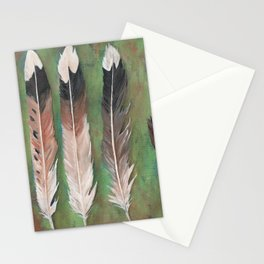 Killdeer feathers green rust background Stationery Cards