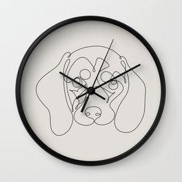 One Line Dachshund Wall Clock