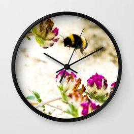 the flight of bumble bee on the dunes I Wall Clock