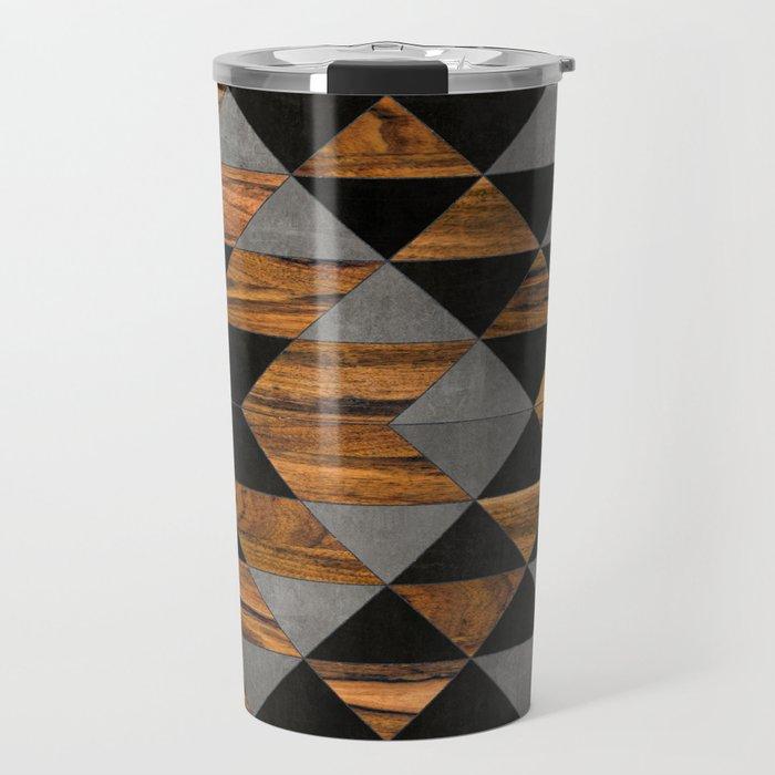 Urban Tribal Pattern No.10 - Aztec - Concrete and Wood Travel Mug