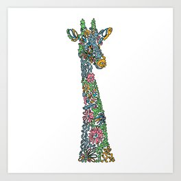 Colorful giraffe artwork Art Print