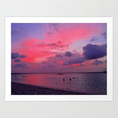 Swimming Towards Sundown Art Print