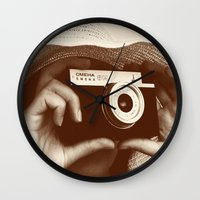 photographer Wall Clocks featuring Photographer by XfantasyArt