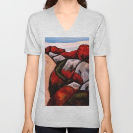 Camden, Maine, The Blueberry Highway, Autumn Red New England landscape painting by Marsden Hartley Unisex V-Neck