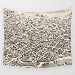 Vintage Pictorial Map of Muncie Indiana (1884) Wall Tapestry