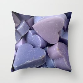 Violet hearts (lavender soap) Throw Pillow