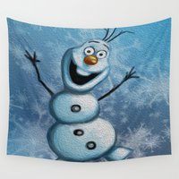 olaf Wall Tapestries featuring Olaf by MandiMccl