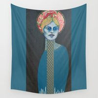 halo Wall Tapestries featuring Red Halo by Hinterland Girl