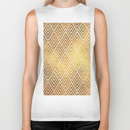 Gold foil triangles on pink - Elegant and luxury triangle pattern Biker Tank