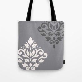 Scroll Damask Art I Cream & Grays Tote Bag