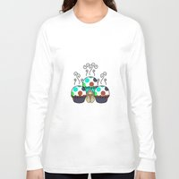 polkadot Long Sleeve T-shirts featuring Cute Monster With Cyan And Blue Polkadot Cupcakes by Mydeas