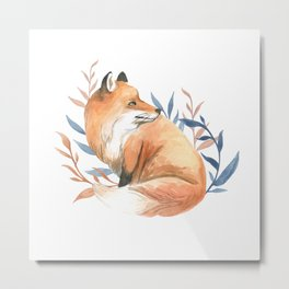 Fox, watercolor animal painting Metal Print
