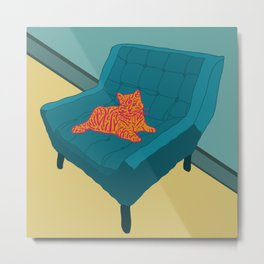 Lounge with Orange Cat Metal Print