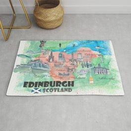 Edinburgh Scotland Illustrated Travel Poster Favorite Map Rug