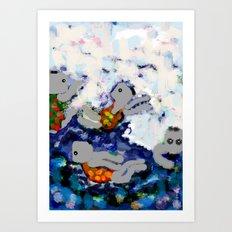 nadadores Art Print