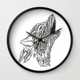 Feather Wolf Wall Clock