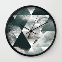 polygon Wall Clocks featuring Waves polygon by cat&wolf