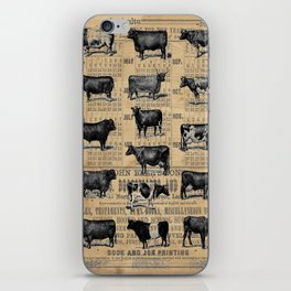 Vintage 1896 Cows Study on Antique Lancaster County Almanac iPhone Skin