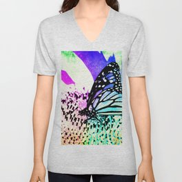 Beautiful Butterfly Sitting on a Flower with Colorful Background Unisex V-Neck