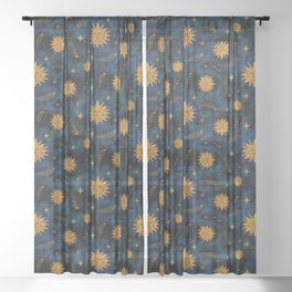 Vintage Sun and Stars Pattern Sheer Curtain
