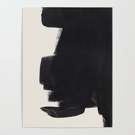 Mid Century Modern Minimalist Abstract Art Brush Strokes Black & White Ink Art Colorfield Poster