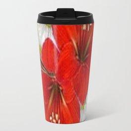 RED AMARYLLIS WHITE DAISIES FLORAL ART Travel Mug