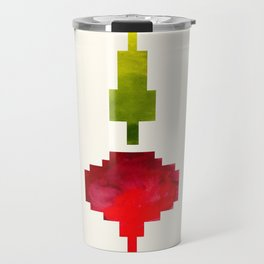 Beet Vegetable Pixel Watercolor Vegetable Red Colors Geometric Art Travel Mug