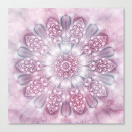 Dreams Mandala in Pink, Grey, Purple and White Canvas Print