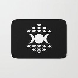 Triple Moon Goddess - White on Black Bath Mat