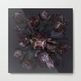 Black tulips on dark background Metal Print