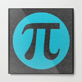 First 10,000 digits of Pi, blue on black. Metal Print