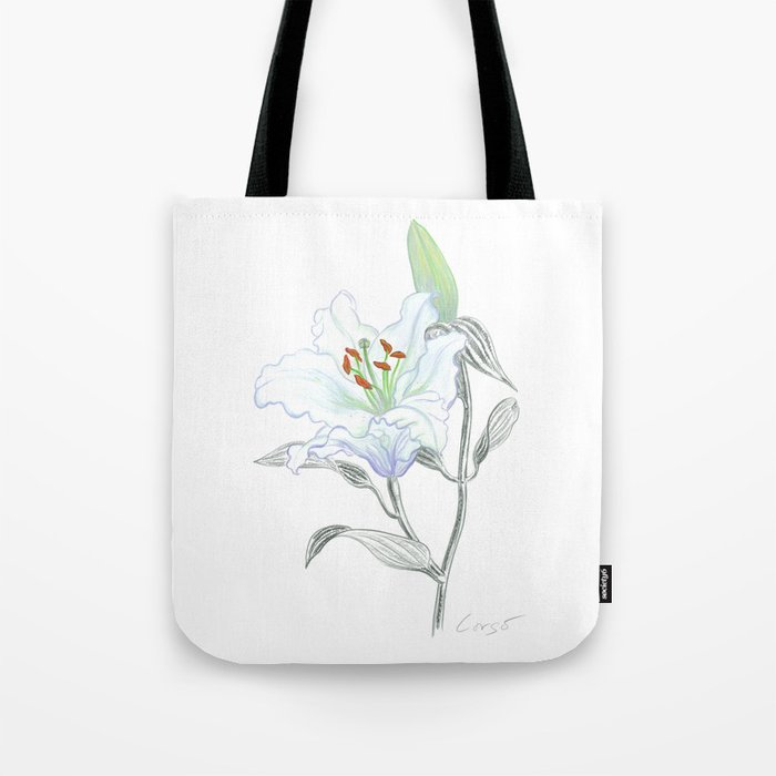 Lily 01 Botanical Flower * White Casablanca Lily Tote Bag
