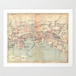 Vintage Map of Cannes France (1921) Art Print
