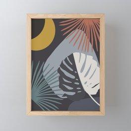 Minimal Yin Yang Monstera Fan Palm Night Finesse #1 #tropical #decor #art #society6 Framed Mini Art Print