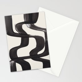 Mid Century Modern Minimalist Abstract Art Brush Strokes Black & White Ink Art Ripple Lines Stationery Cards