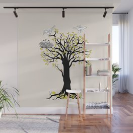 spring tree with birds Wall Mural