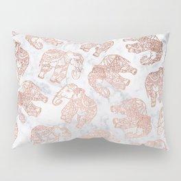 Boho rose gold floral paisley mandala elephants illustration white marble pattern Pillow Sham