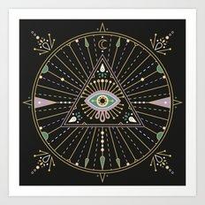 Evil Eye Mandala – Black Art Print