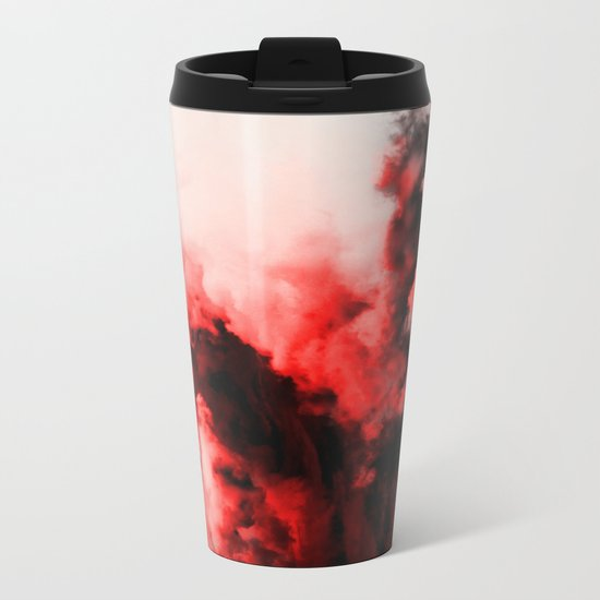 In Pain - Red And Black Abstract Metal Travel Mug