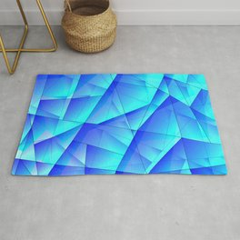 Abstract celestial pattern of blue and luminous plates of triangles and irregularly shaped lines. Rug