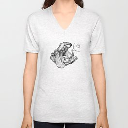 Hippos need love Unisex V-Neck